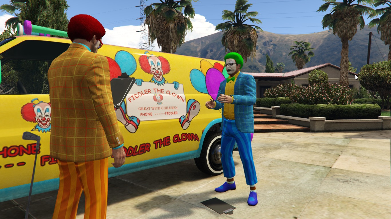 """""""The Sharmoota Job"""" Clown Outfits for Michael and Trevor"""
