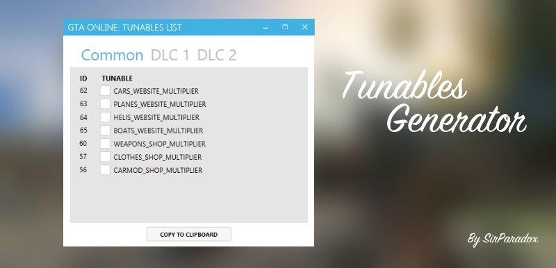 Tunables Generator GTA 5